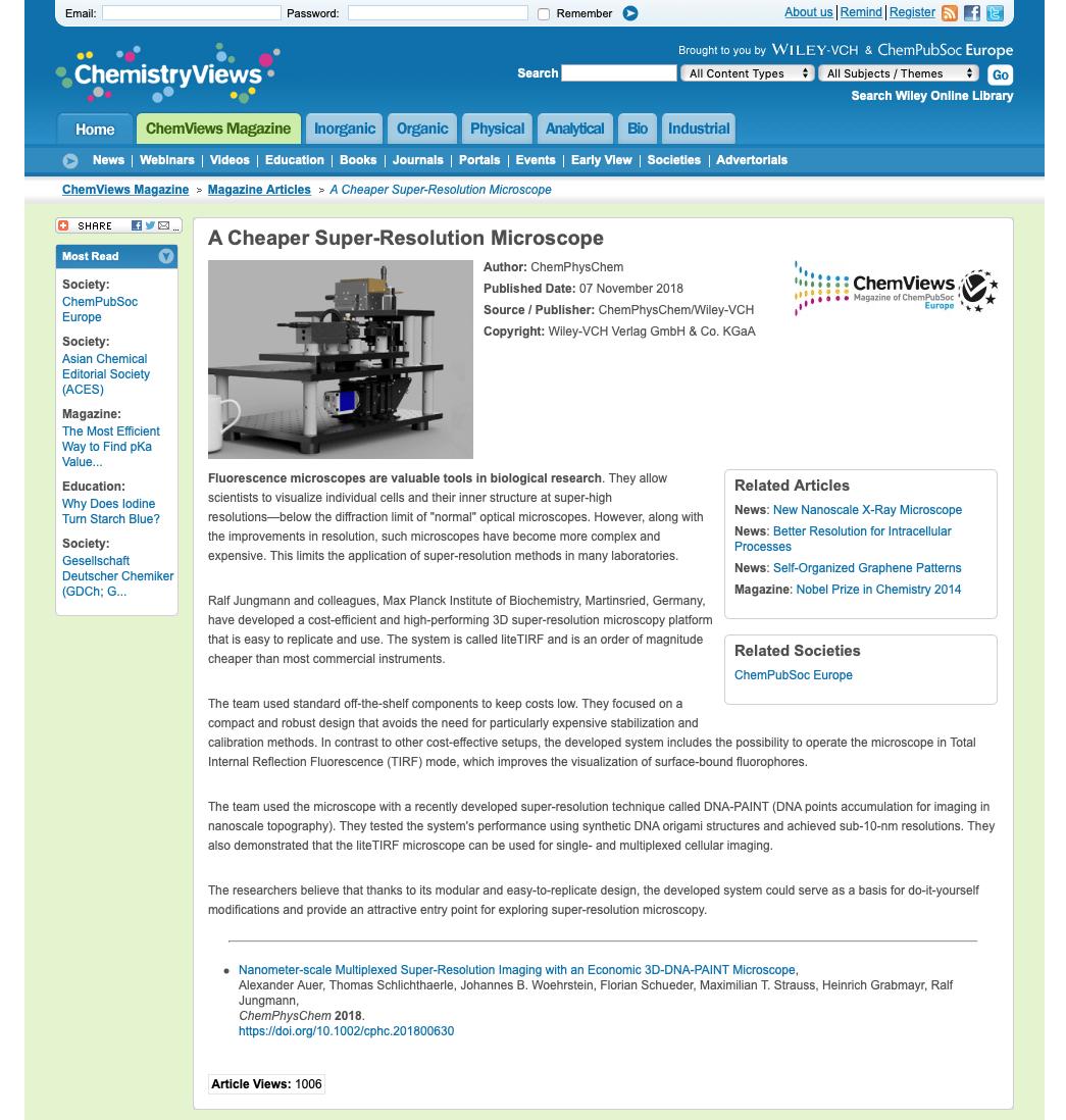After the LiteTIRF was published on ChemPhysChem as a VIP article, Chemistry news highlights the LiteTIRF platform.