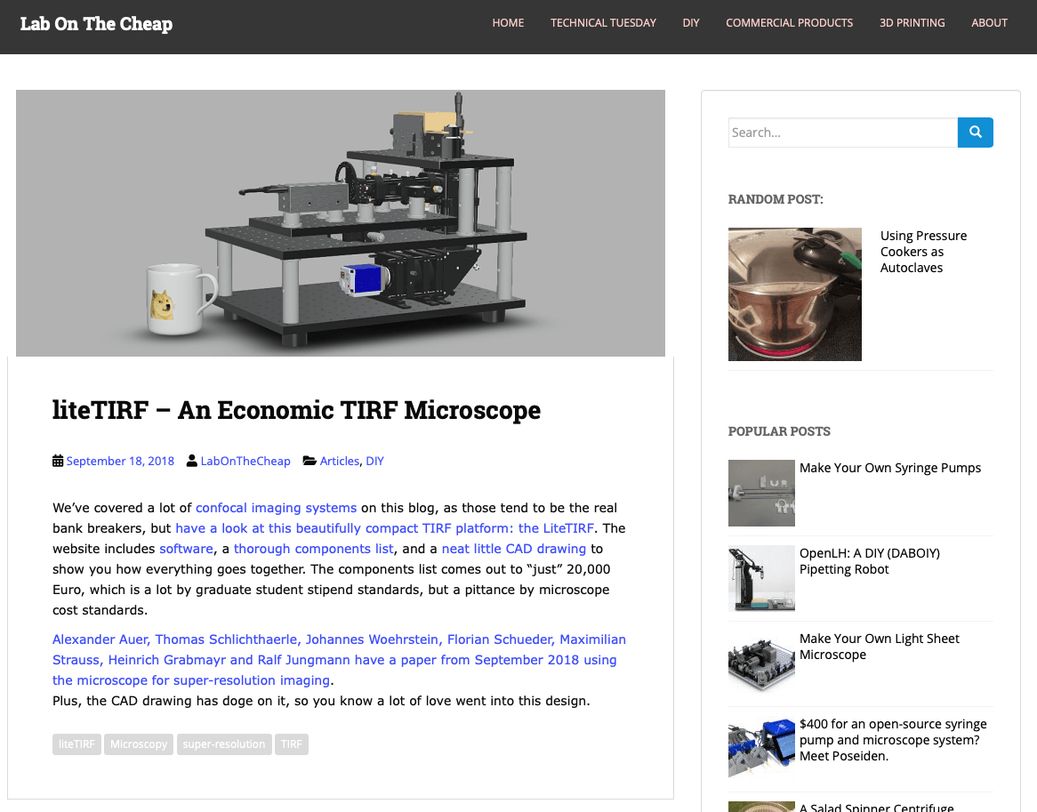 Lab on the Cheap highlights the LiteTIRF platform as their first open-source TIRF microscope.