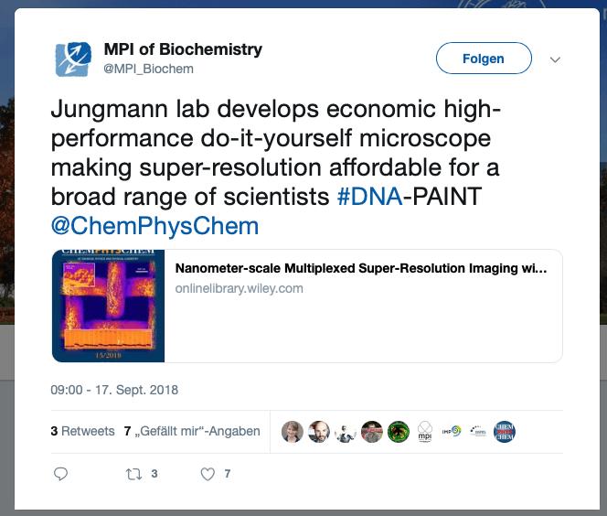 Max Planck Institute for Biochemistry twitters about the DIY LiteTIRF platform.